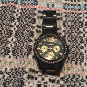 Large Black Metal Fossil Watch